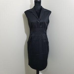 Ann Taylor Black Collared Pocket Dress SZ 6
